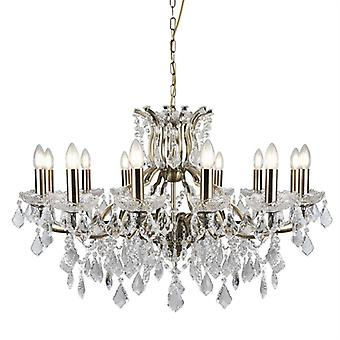 Paris Antique Brass And Crystal Glass Twelve Light Chandelier - Searchlight 87312-12ab