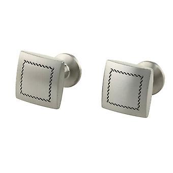 Ti2 Titanium Stitch Engraved Cufflinks - Silver