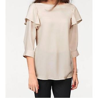 vivance collection ladies ruffle blouse with 3/4 sleeves beige