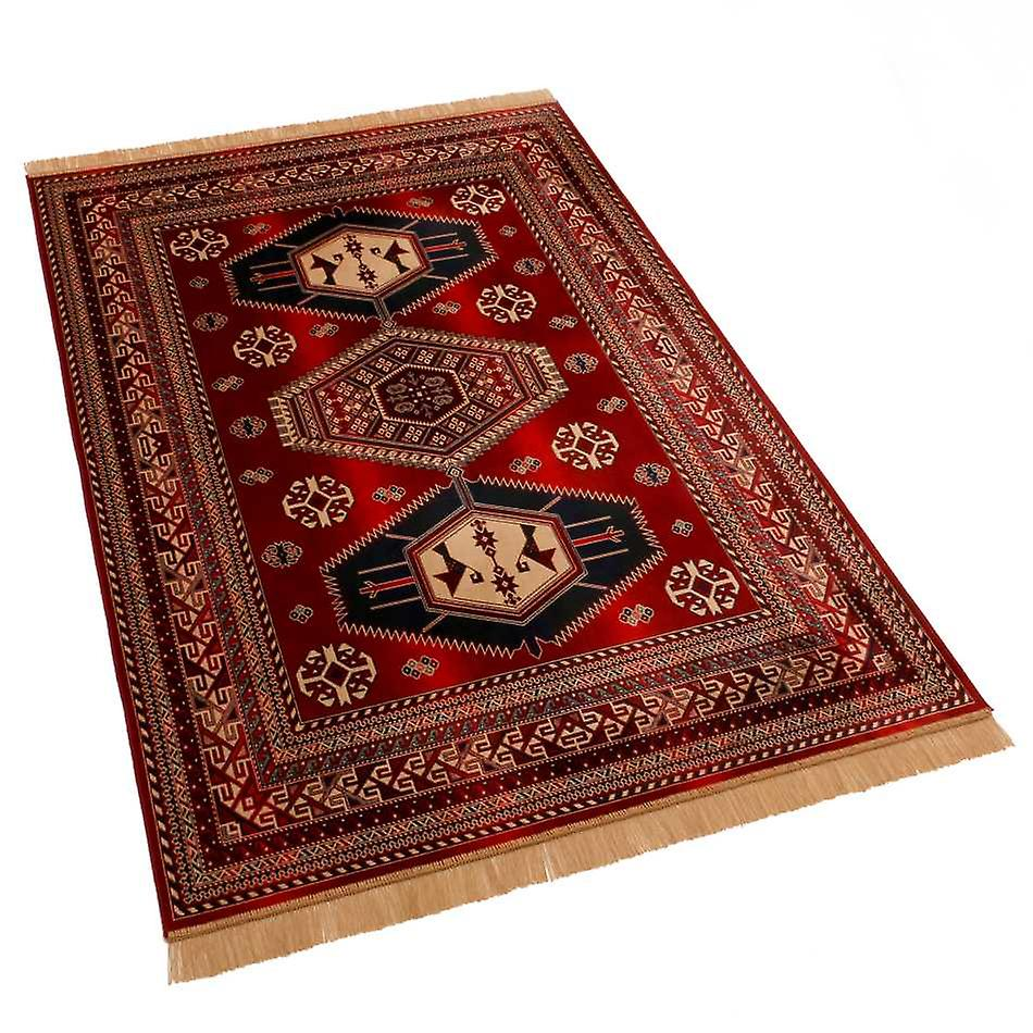 Large Red Afghan Kazak Artificial Faux Silk Effect Rugs 9379/12 160 x 230cm