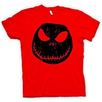 Mens T-shirt - Scary Halloween Pumpkin - Smiley Face