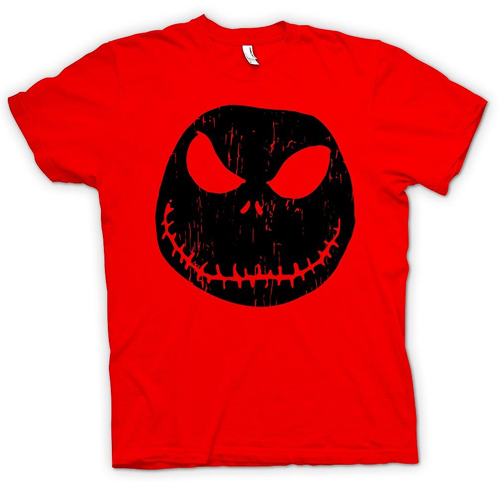 Mens T-shirt - gruselig Halloween Kürbis - Smiley-Gesicht