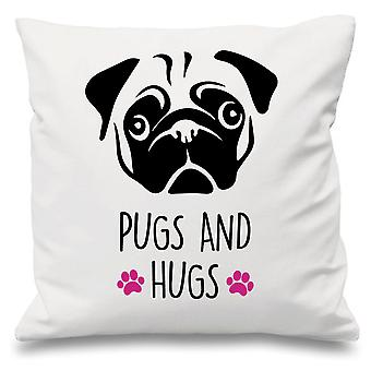 Pugs And Hugs White Cushion Cover 16