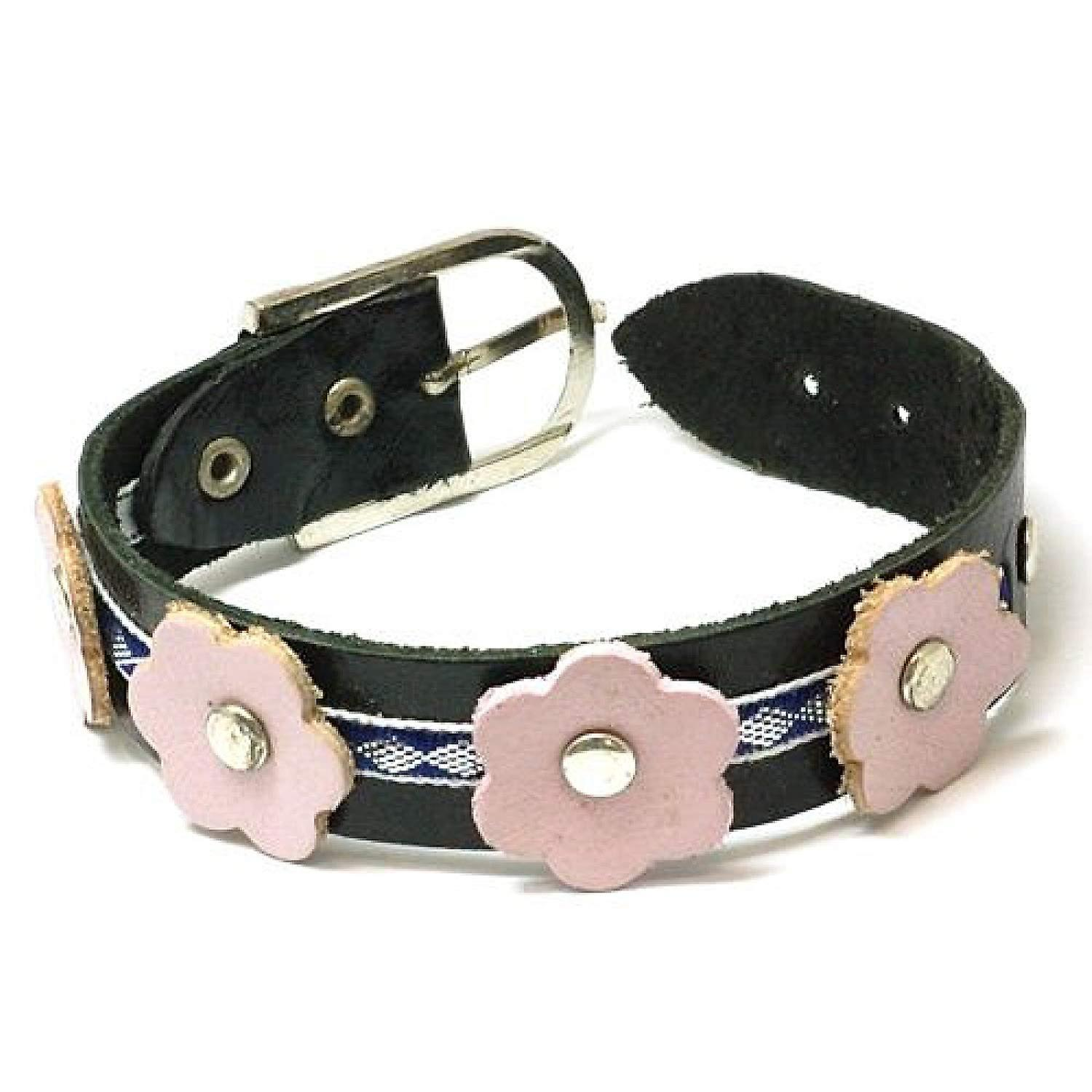 The Olivia Collection Black Genuine Leather Pink Flowered Wristband FJ110