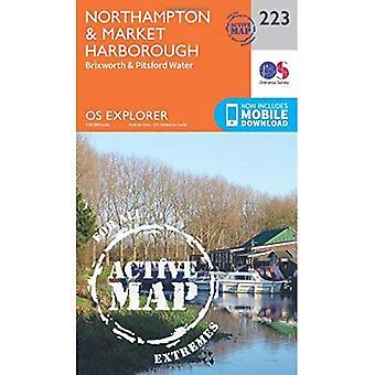 OS Explorer mapa ativo (223) Northampton e mercado Harborough (Explorer OS mapa ativo)
