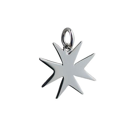 Silver 18x17mm plain Maltese Cross