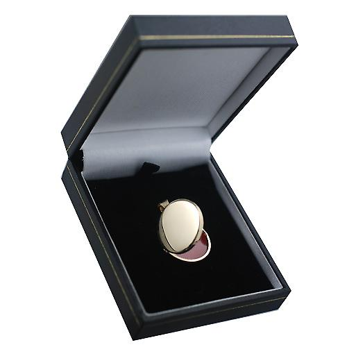 9ct Gold 23mm plain flat round Locket