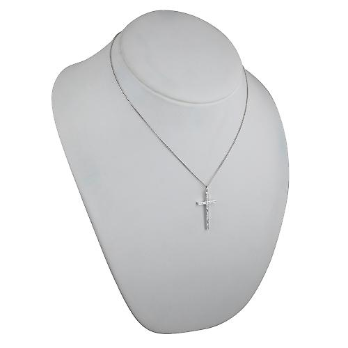 Silver 34x18mm hand engraved solid block Cross with a curb Chain 18 inches