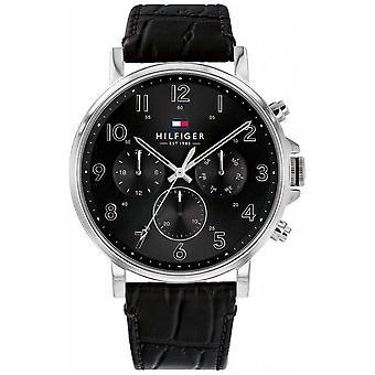 Tommy Hilfiger   Mens Black Leather Daniel   1710381 Watch