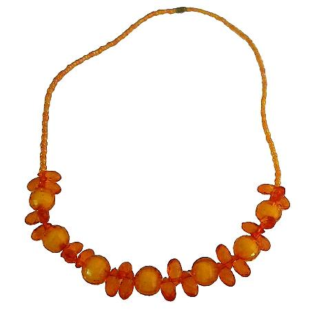 Beautiful Orange Beads Necklace For Daughters