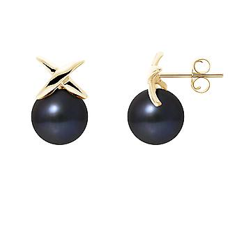 ピアス耳真珠文化の黒し、黄色のゴールド 750/1000