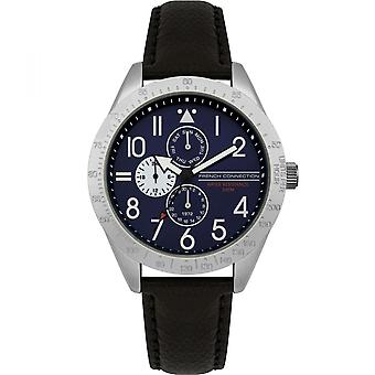 French Connection Mens Blue Multi Dial Quartz Leather Wrist Watch FC1313B