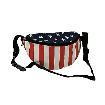 Red White and Blue Stars and Stripes Canvas Fanny Pack