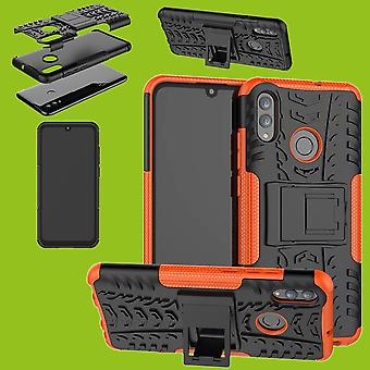 Für Huawei Y7 und Y7 Pro 2019 Hybrid Case 2teilig Outdoor Orange Tasche Hülle Cover Schutz
