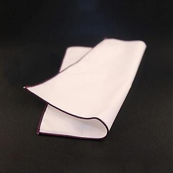 Purple trim plain white 100% cotton suit pocket square