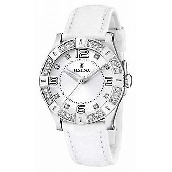 Womens' Festina acciaio inox Set di cristallo bianco Leather Watch Strap F16537/1