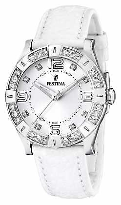 Festina Womens' Stainless Steel Crystal-Set White Leather Strap F16537/1 Watch