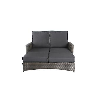 Cozy Garden Honokalani verstelbare loungebank inc. voetenbank - grijs