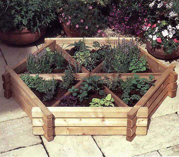 Norlog Small Herb Wheel Wooden Planter