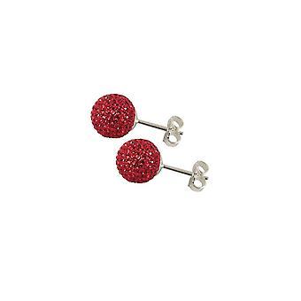 Eternal Collection Shamballa 8mm Red Glitter Ball Stainless Steel Stud Pierced Earrings