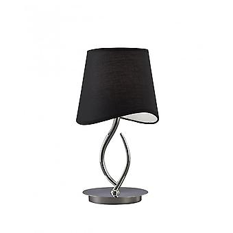 Mantra Ninette Table Lamp 1 Light E14 Small, Polished Chrome With Black Shade