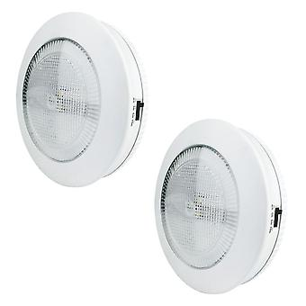 Xtralite Omni Medium 9cm 3 LED White Tap Light With Timer Function, Cordless Battery Powered With 3M Command Strips