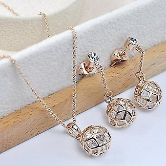 18K Gold Plated Crystal Ball Jewellery Set