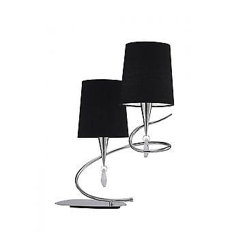 Mantra Mara Table Lamp 2 Light E14, Polished Chrome With Black Shades