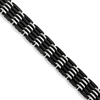 Stainless Steel Polished Black Rubber Bracelet - 8.25 Inch
