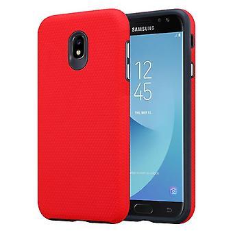 Cadorabo tilfældet for Samsung Galaxy J7 2017 sag Cover-udendørs telefon tilfældet med ekstra Grip anti slip overflade i trekantet design lavet af silikone og plastik-beskyttende sag hybrid hardcase tilbage sag