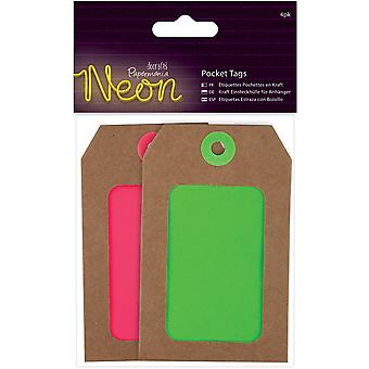 Papermania Neon Pocket Tags 4/Pkg-Pink & Green PM174312
