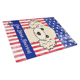 God Bless American Flag with Buff Poodle Glass Cutting Board Large BB2188LCB
