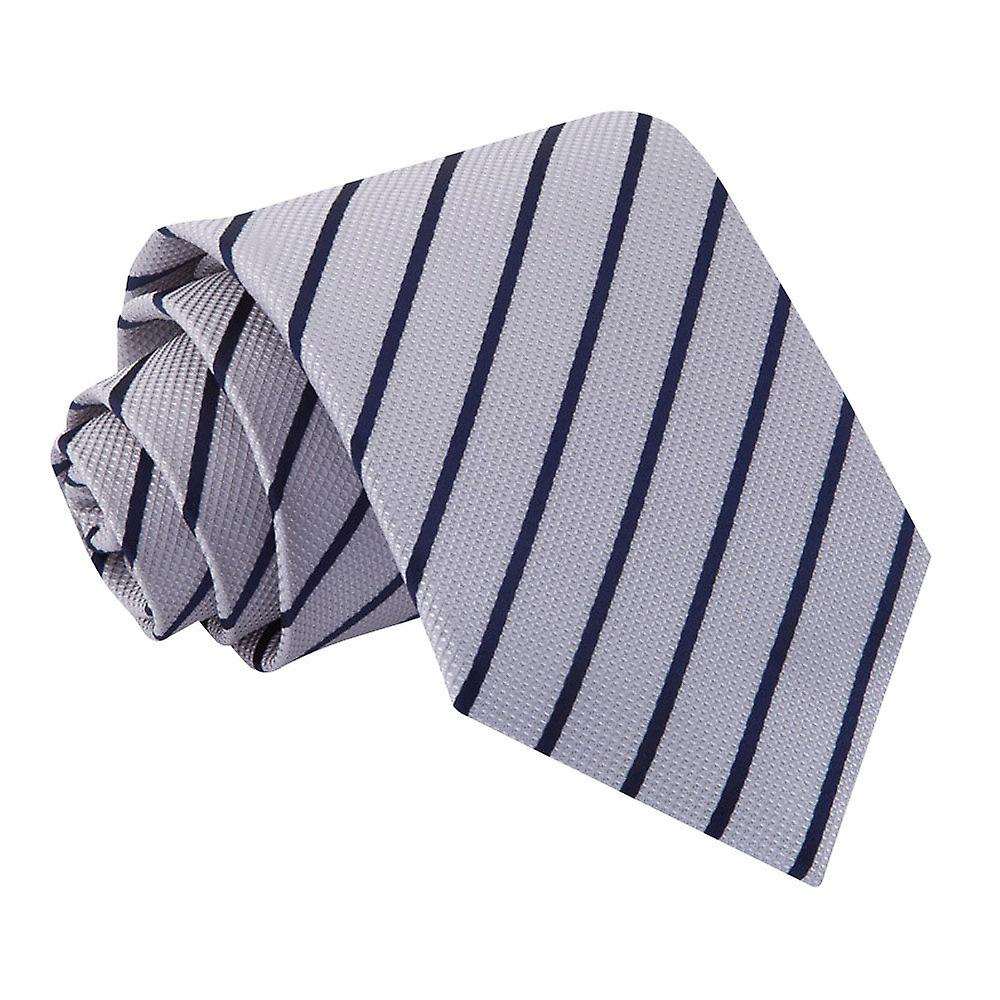 Single Stripe Silver & Navy Tie