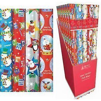 4 x 10m jul indpakning papir ruller - Kids snemand, Santa, pingvin