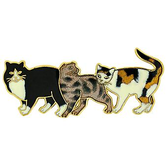 Fine Enamels Three Cats Brooch