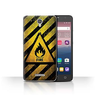 STUFF4 Case/Cover for Alcatel Pop Star 3G/Fire/Flammable/Hazard Warning Signs