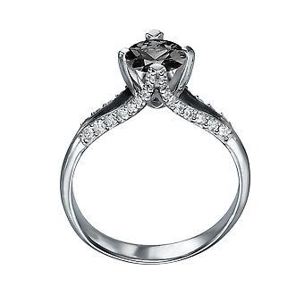 14k oro bianco 1.50 CTW diamante nero anello con diamanti spaccato tibia unico Vintage