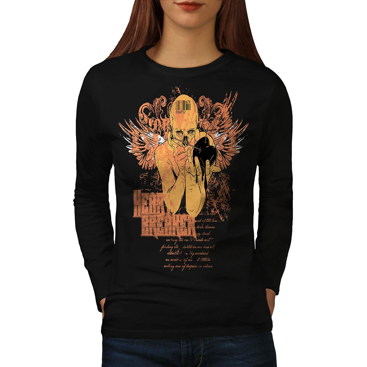 Love Heart Breaker Evil Lust Women Black Long Sleeve T-shirt | Wellcoda