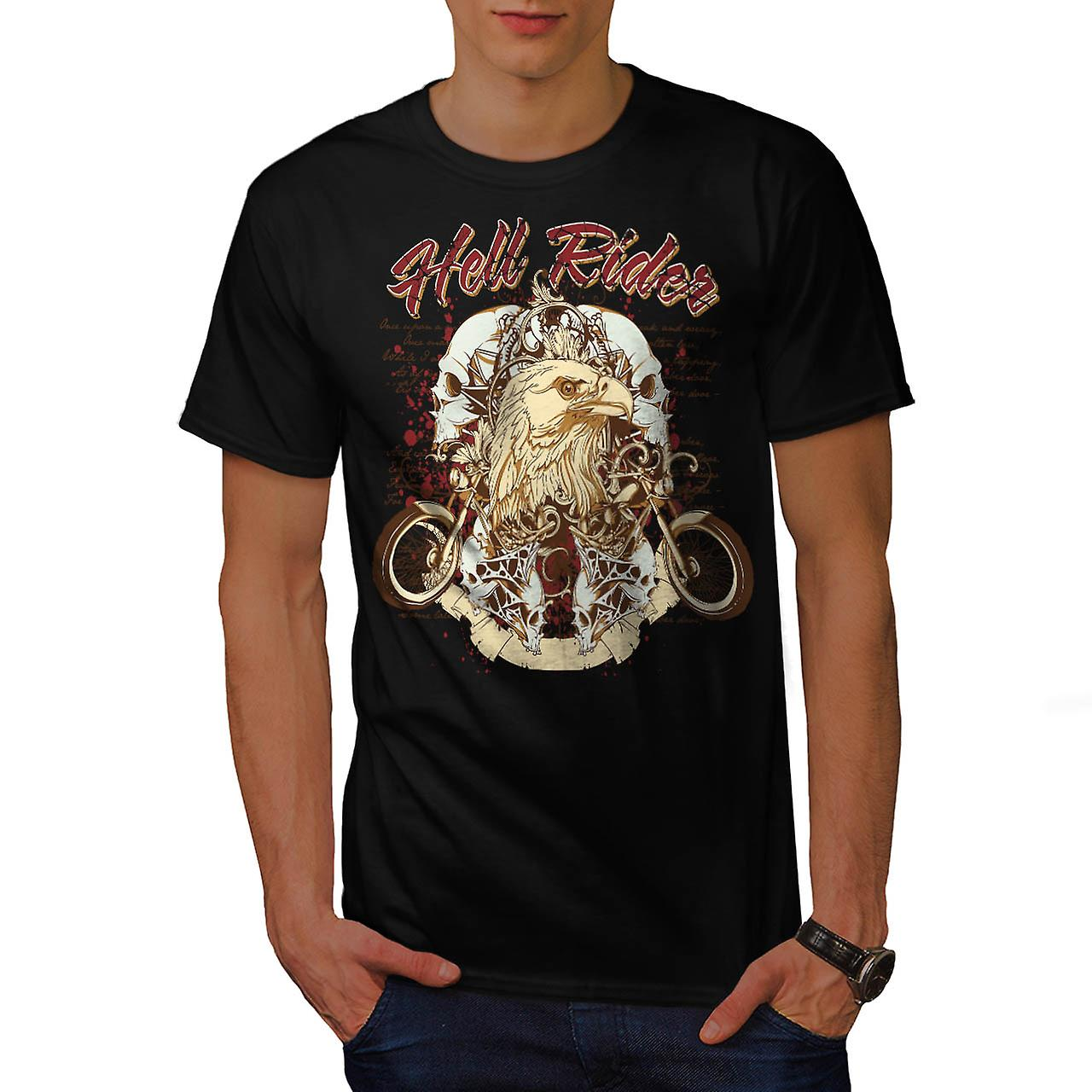 Hell Rider Eagle Biker Men Black T-shirt | Wellcoda