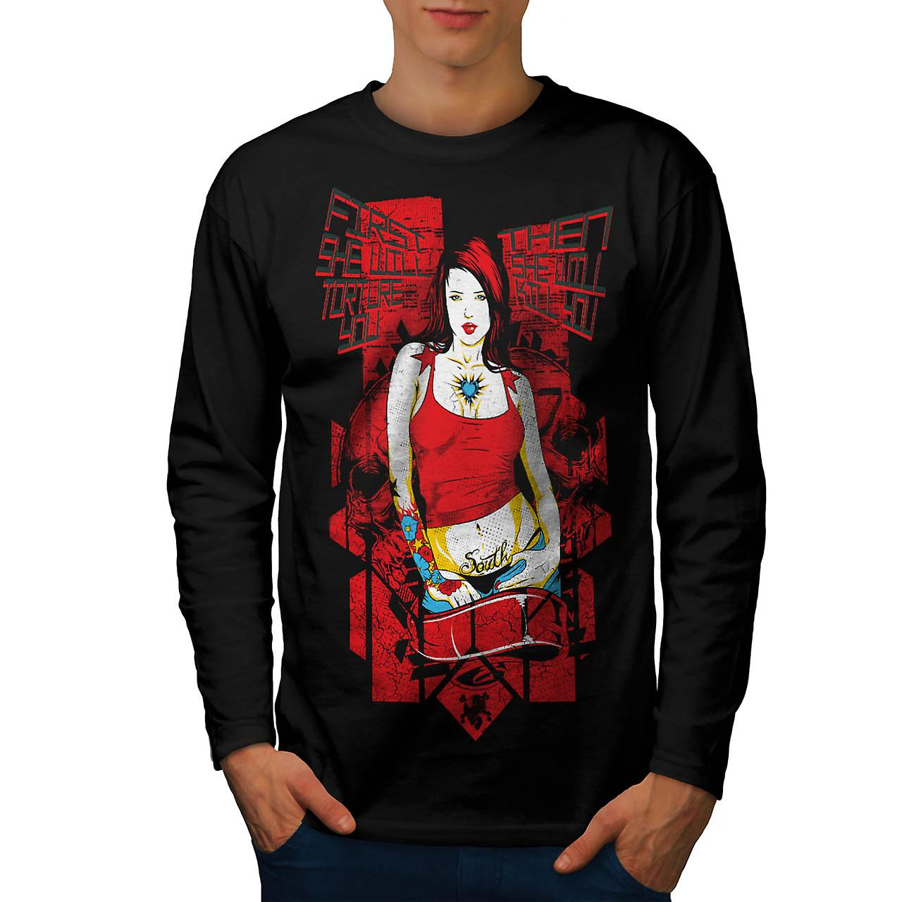 Torture Killer Girl Murder Chick Men Black Long Sleeve T-shirt | Wellcoda