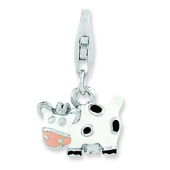 Sterling Silver Rhodium-plated Enameled Cow With Lobster Clasp Charm - 2.4 Grams