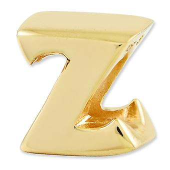 Sterling Silver Gold-plated Reflections Letter Z Bead Charm