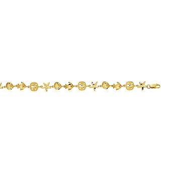 14k Yellow Gold Fish Star en Shell armband - 7 Inch