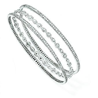 Sterling Silver CZ tre Bangle armbånd Set