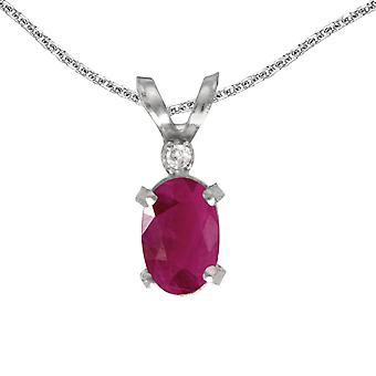 14k White Gold Oval Ruby And Diamond Filagree Pendant with 18