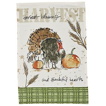 Harvest Blessings and Thankful Heart Turkey Printed Kitchen Dish Towel