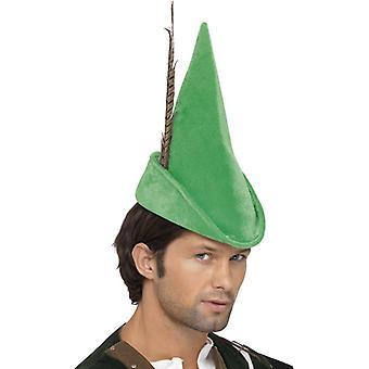 Robin Hood Mütze Grün mit Feder Deluxe
