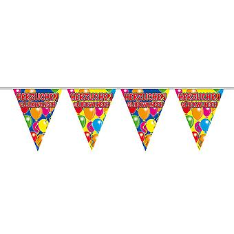 Pennant chain of 10 m congratulations on birthday decoration party Garland