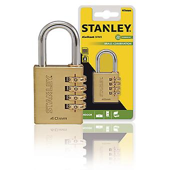 Stanley 4-Digit Combination Padlock Solid Brass 40 mm
