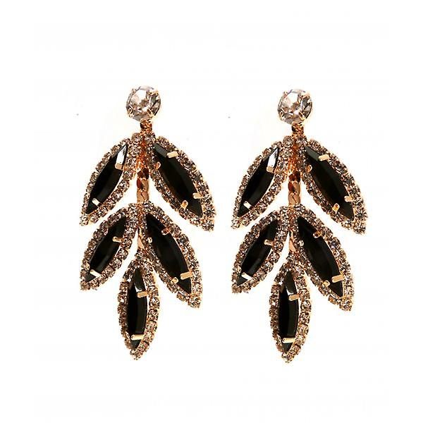W.A.T Black And Clear Crystal Leaf Shaped Earrings